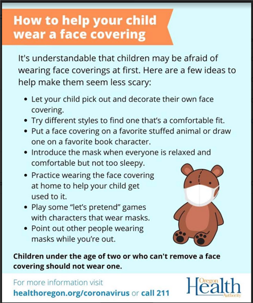Now is a great time to help your child practice wearing a face covering.